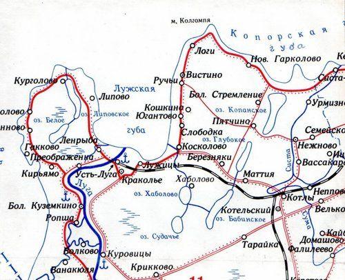 Схема района дороги Усть-Луга
